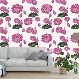 Behang met Lotus roze-2