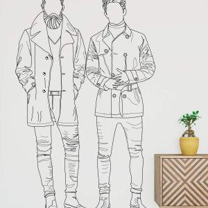 muurillustratie van twee mannen-01