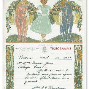 vintage kunst telegram vrouwe met 2 paarden