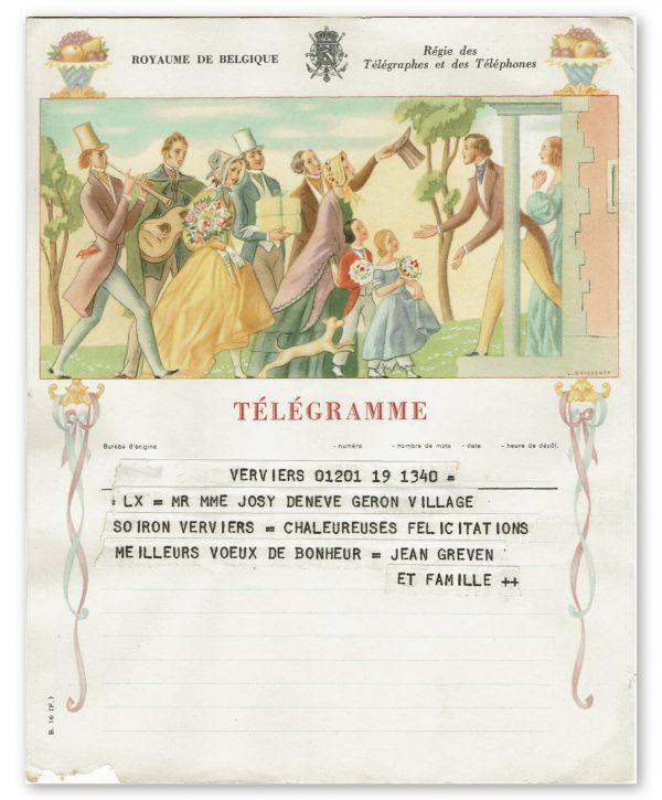 vintage kunst telegram bruiloft