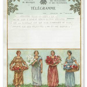 vintage kunst telegram met vier vrouwen en bloemen