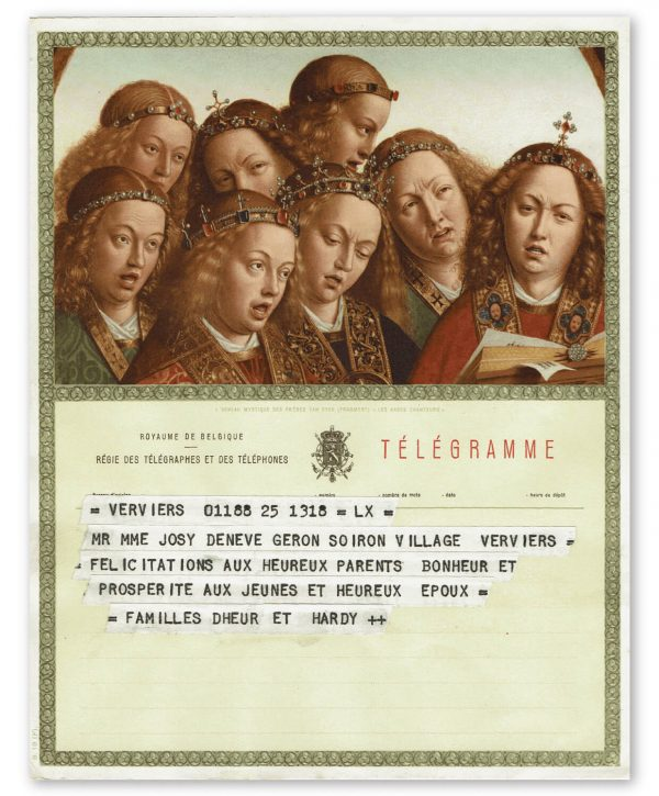 vintage kunst telegram met gelovigen