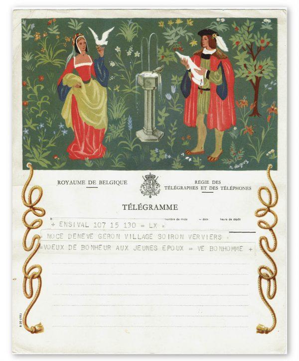 vintage kunst telegram man en vrouw van adel