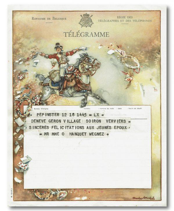 vintage kunst telegram soldaat te paard