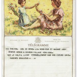 vintage kunst telegram met moeder en kind