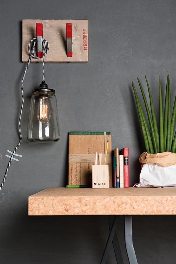 Gerecyclede hanglamp zwart/wit koord 03